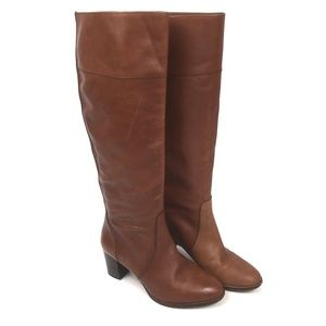 J Crew Cognac Brown Leather Boots Knee High Size 7